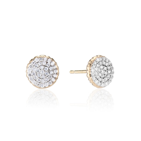 Gold Pave Diamond Stud Earrings
