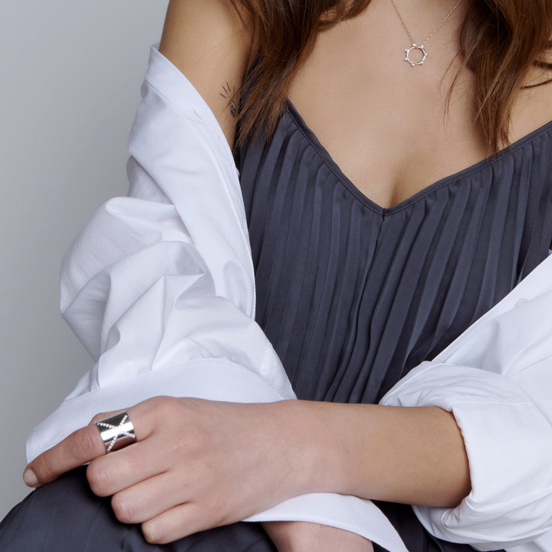 Tall Bright White X Cuff Ring