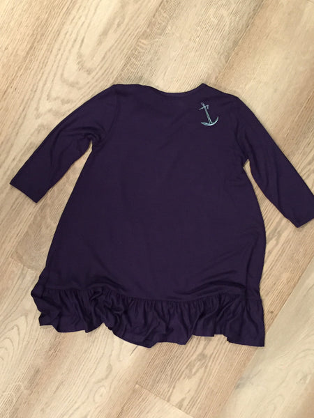 Girls Navy Ruffle Hem Dress