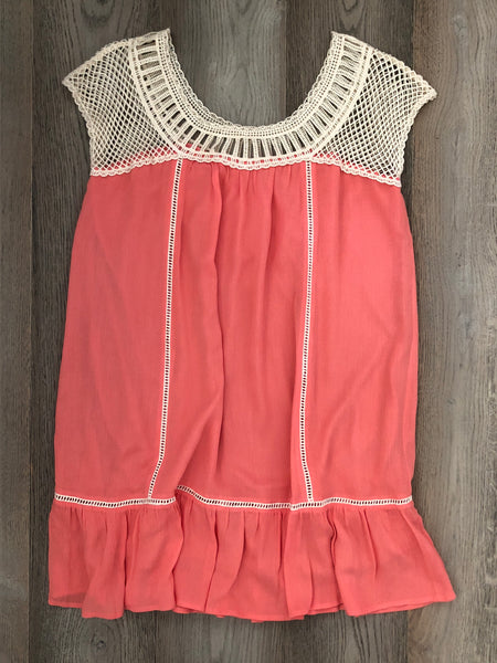 Coral Dress with Crochet Detail