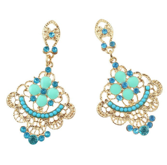 Blue Color Rhinestone Drop Long Earrings