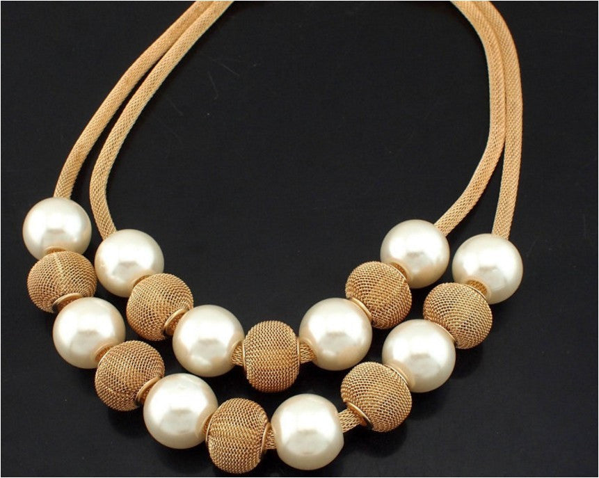 Pearl Metal Ball Women Chokers Statement Jewelry