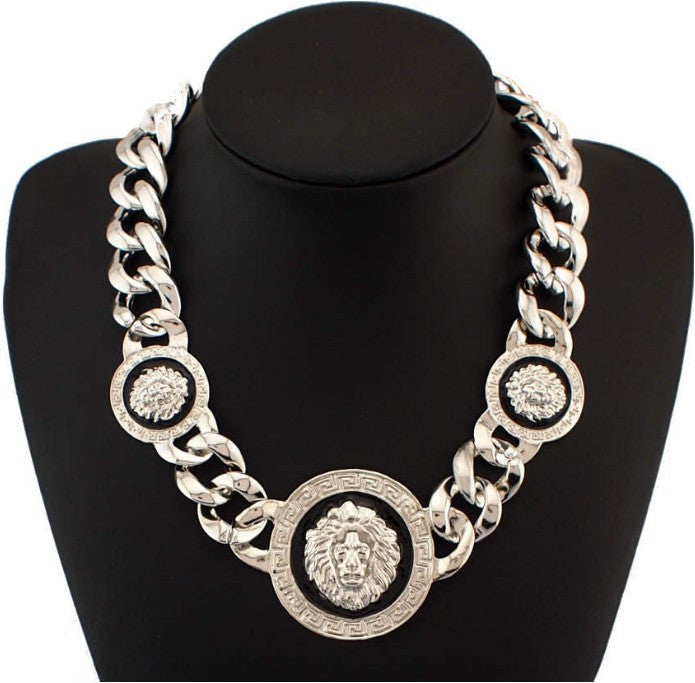 Lion Head Chunky Acrylic Chain Statement Necklace