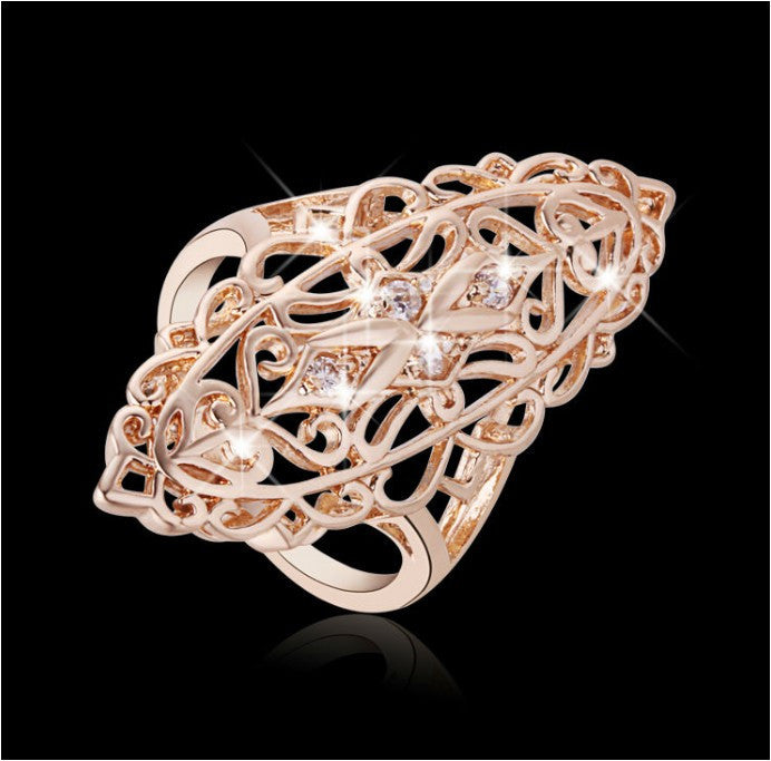 Gold Plated Filigree Ring with Cubic Zirconia