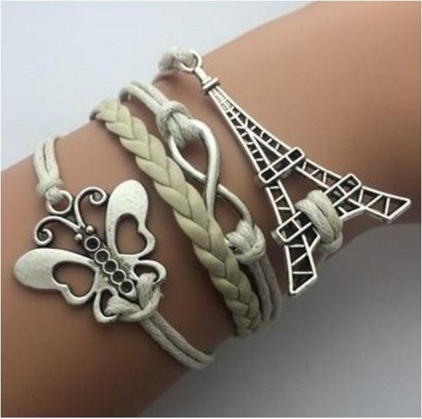Leather Jewelry Bracelet Multi Double Layer Infinity