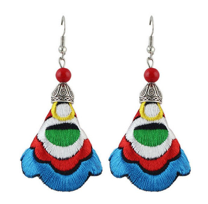 Colorful Embroidery Long Drop Earrings
