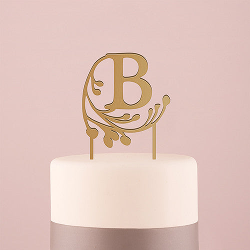 Fairy Tale Monogram Acrylic Cake Topper - Metallic Gold