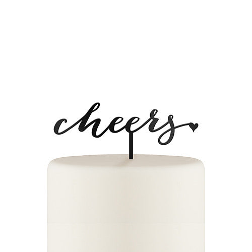 """Cheers"" Acrylic Cake Topper - Black"