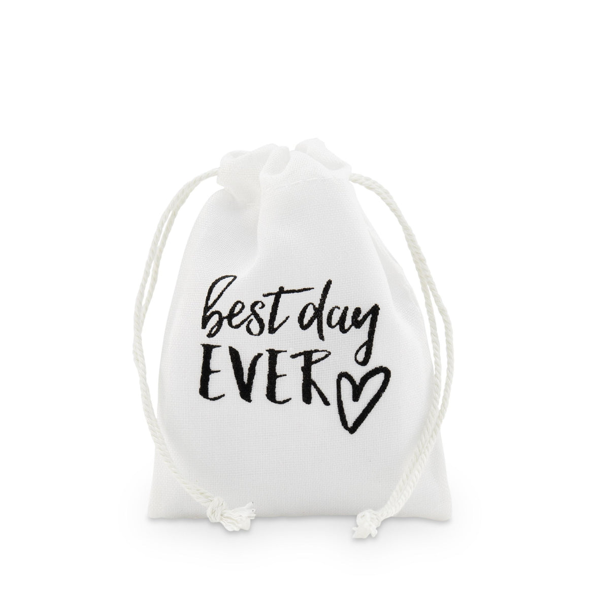 "Muslin Drawstring Favour Bag Small ""Best Day Ever"""