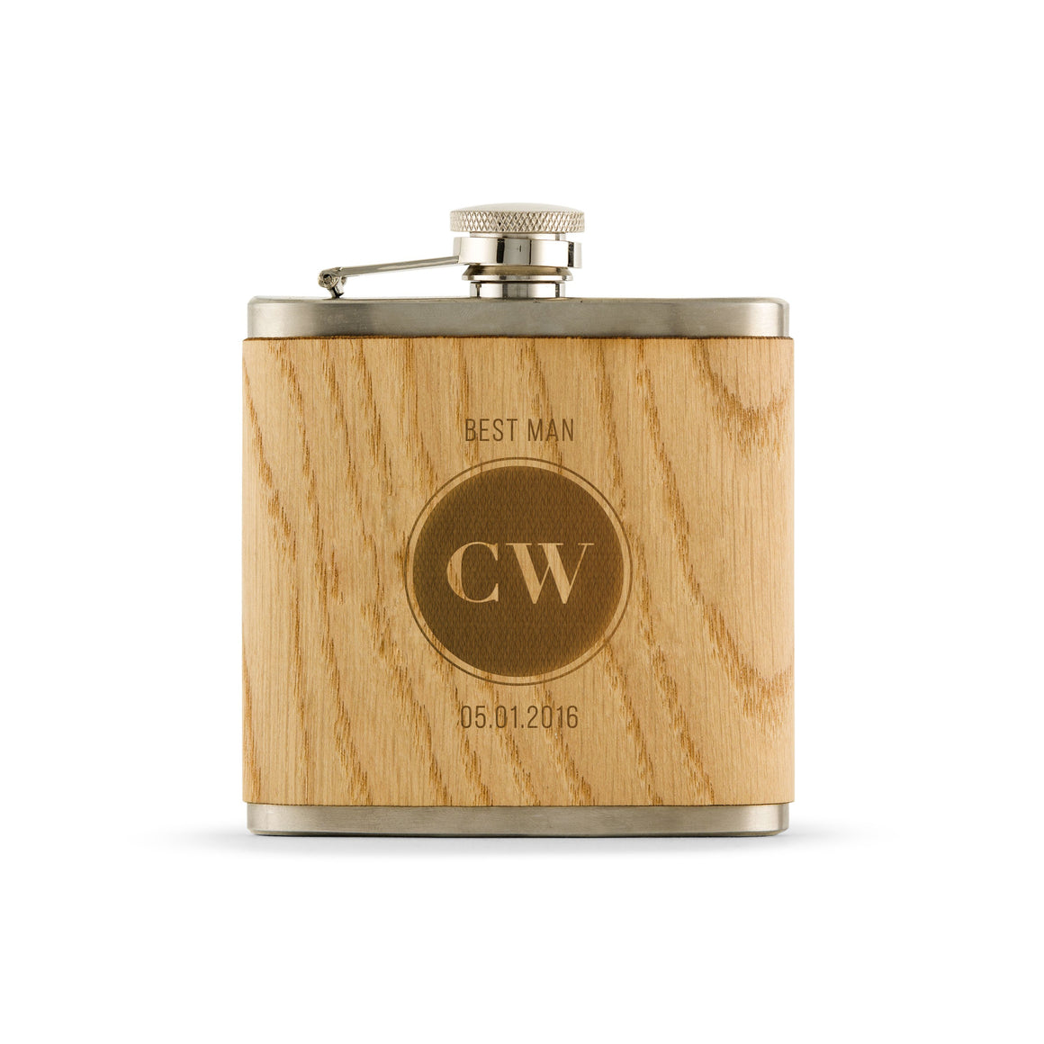 Hip Flask Personalized Wood Flask - Circle Monogram