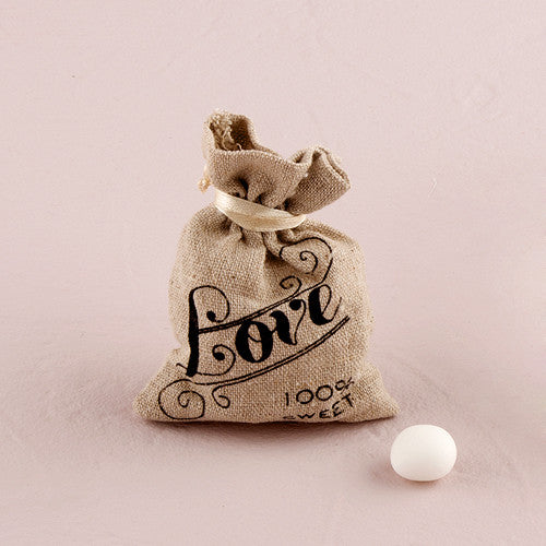 Mini Linen Drawstring Pouch with Vintage Love Print