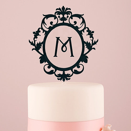 Classic Black Floating Monogram Acrylic Cake Topper