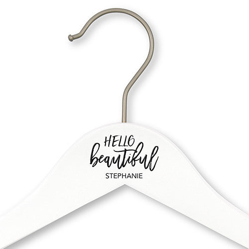 """Hello Beautiful"" Wooden Hanger - Personalized"