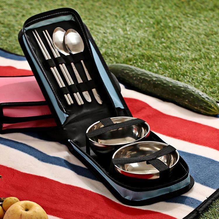Fashionable Style Portable Stainless Steel Set Outdoor Camping - Spoon Bowl Chopstick | At Camping