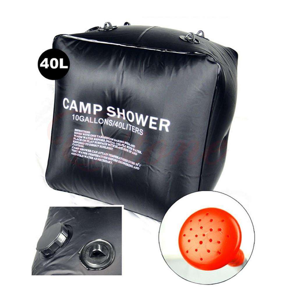 Outdoor Hiking Folding Solar Camp Shower Water Bathing Bag 40L 10 Gallons Black | At Camping
