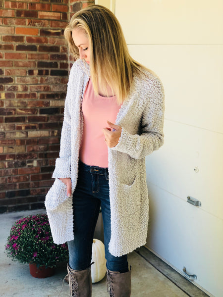 Cloud Gray Bubble-Knit Cardi