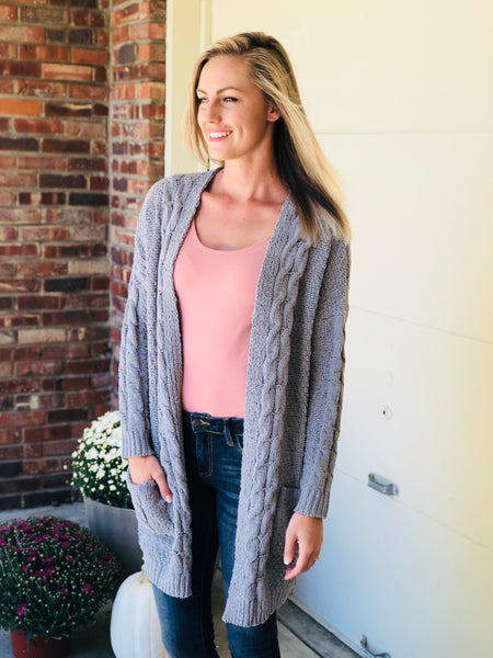 Gray Cable Knit Cardi