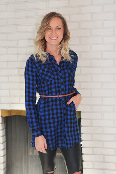 Blue & Black Checkered Shirt Dress