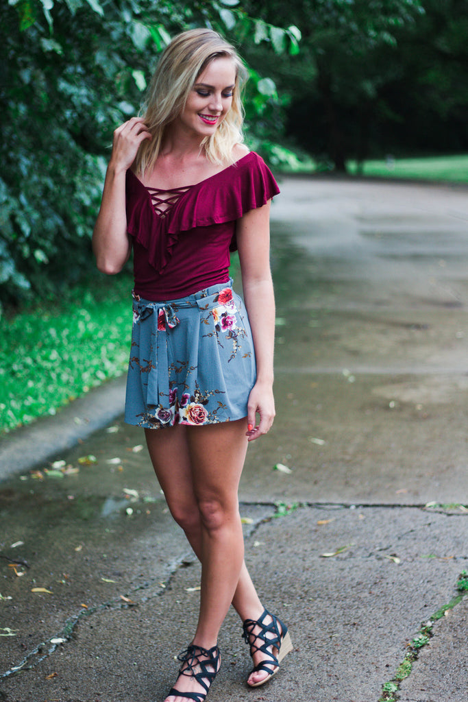 Burgundy Lace-Up Crop Top
