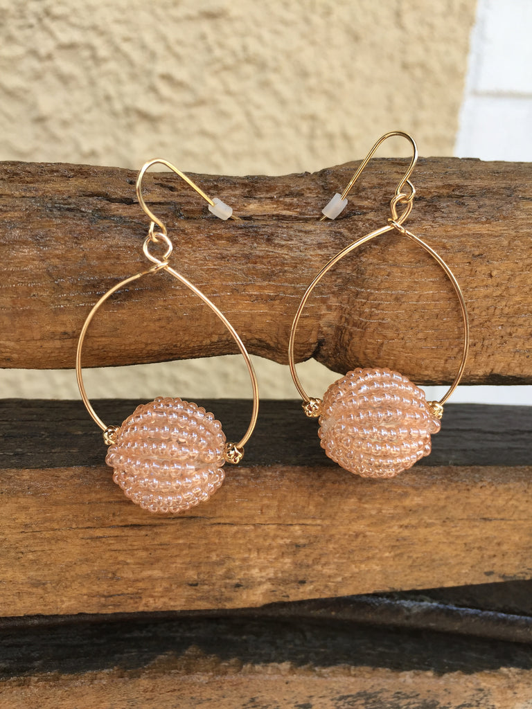 Peach Beaded Ball Hoop Earrings