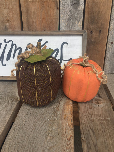 Brown Burlap Pumpkin