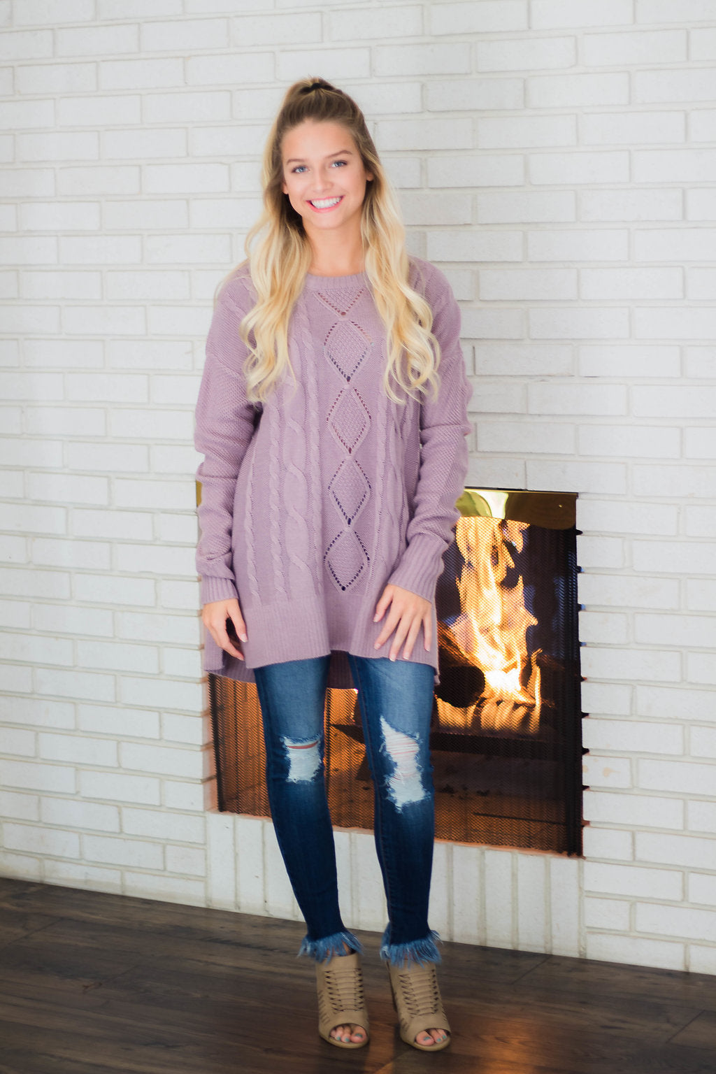 Faded Plum Cable Knit Sweater