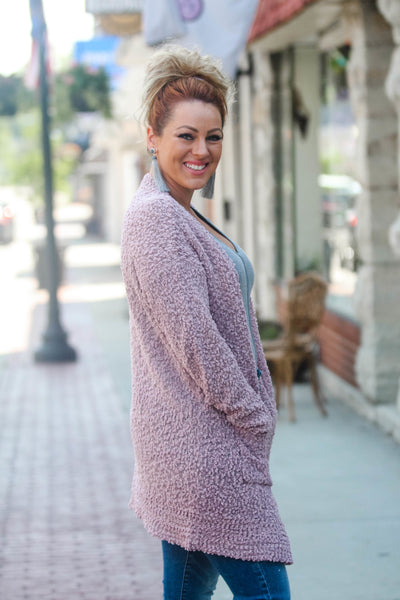 Mauve Bubble Knit Cardigan