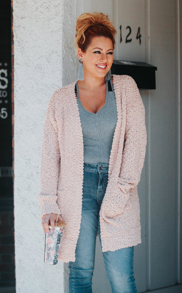 Blush Bubble Knit Cardigan