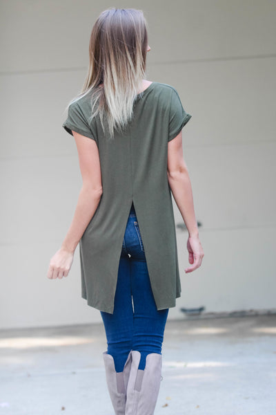 Olive High-Low Tee