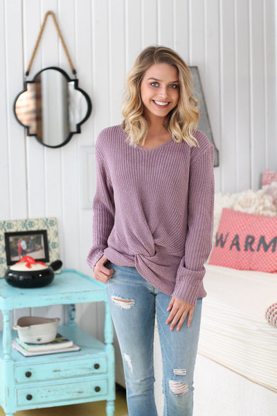 Dusty Lavender Knotted Sweater