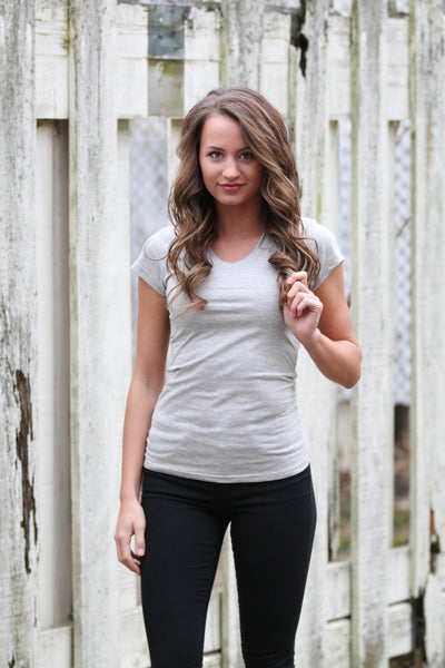 Heather Gray V-Neck Tee