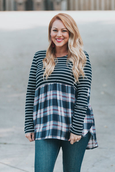 Stripe and Plaid Babydoll Top