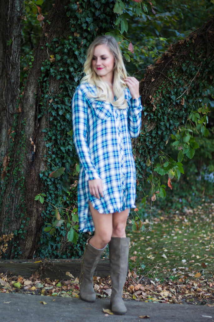 Navy & Mint Plaid Shirt Dress