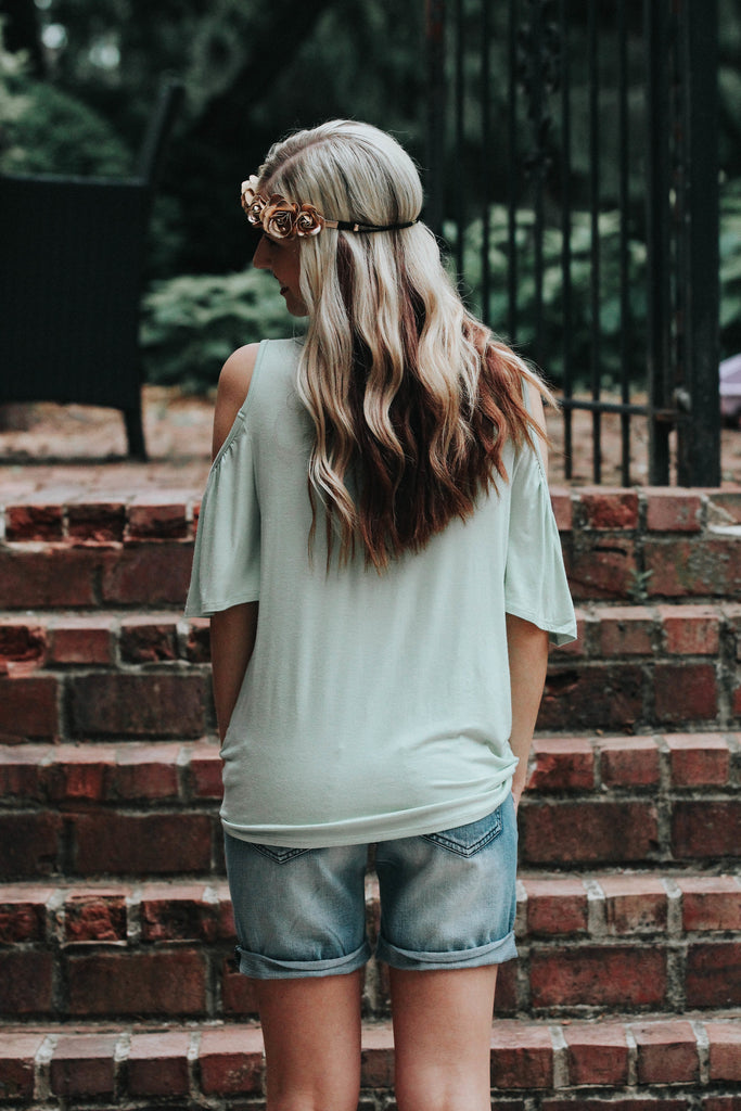 Light Sage Cold Shoulder Top