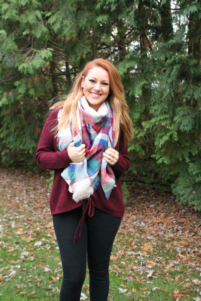 Maroon, Blue, and Green Blanket Scarf