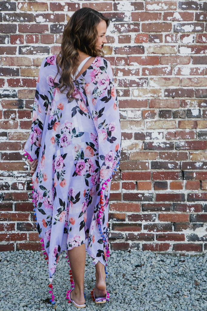 Purple Floral Cover-Up