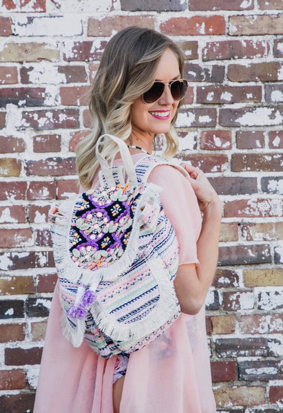 Embellished Fringe Backpack