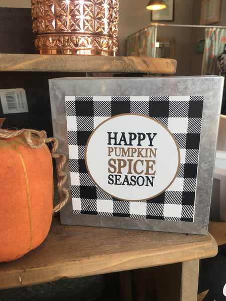 """Pumpkin Spice"" Tin Box Sign"