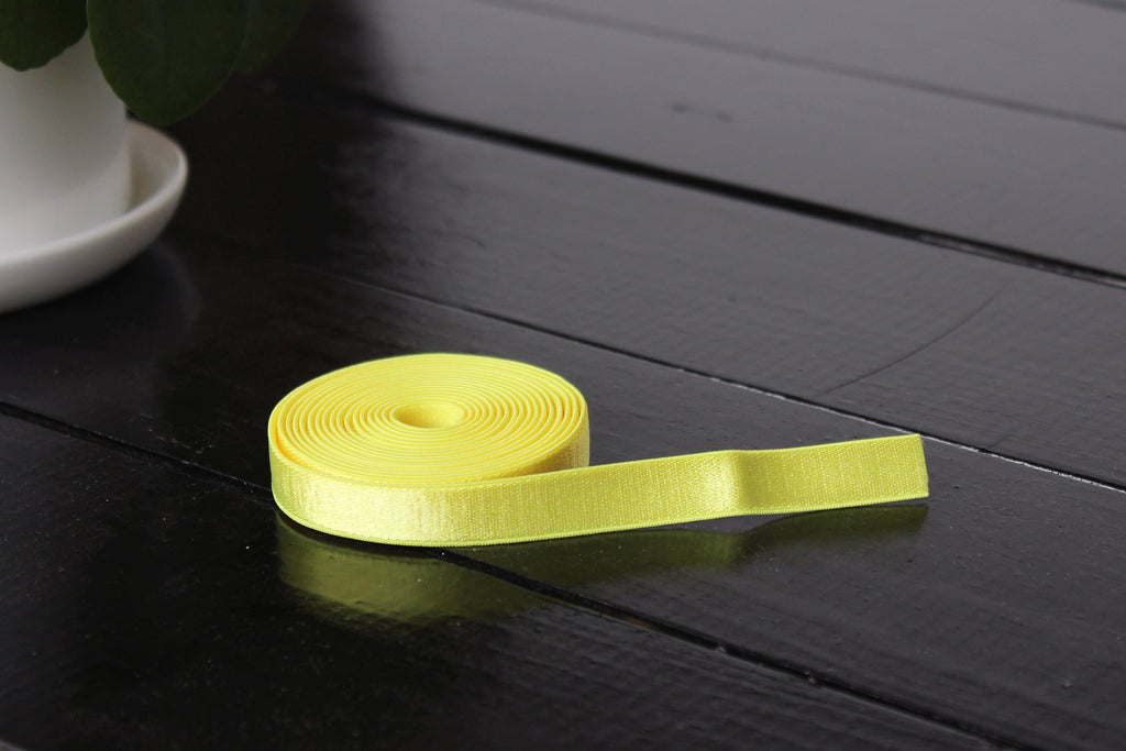 "1 YD 1/2"" Neon Canary Yellow Satin Plush Back Bramaking Lingerie Elastic"