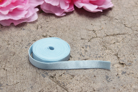 "1 YD 1/2"" Light Blue Satin Plush Back Bramaking Lingerie Elastic"