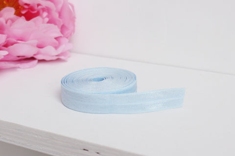 "1 YD of 5/8"" Baby Blue Fold Over Elastic Shiny Foldover Elastic FOE Underwear Making Lingerie Bra Making"
