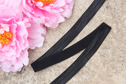 "3/4"" Black Fold Over Elastic Shiny Foldover Elastic FOE Underwear Making Lingerie Bra Making"