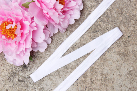 "3/4"" White Fold Over Elastic Shiny Foldover Elastic FOE Underwear Making Lingerie Bra Making"