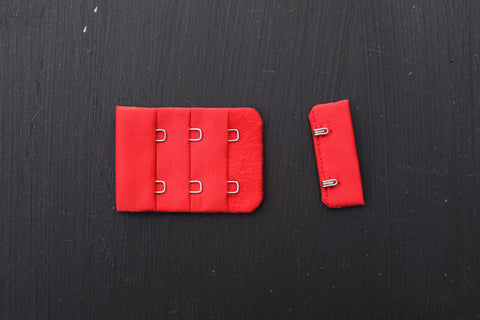 1 Set Red Bra Hook & Eye 2 Rows 1.5""