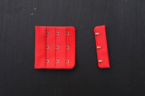 1 Set Red Bra Hook & Eye 3 Rows 2.25""