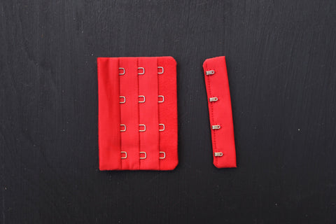 1 Set Red Bra Hook & Eye 4 Rows 3""