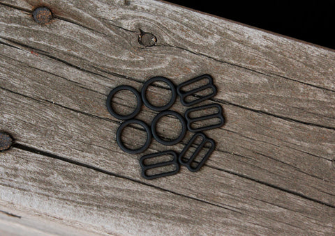 "2 Sets 1/2"" Metal Bramaking Rings & Sliders w/ Black Matte Enamel Finish"