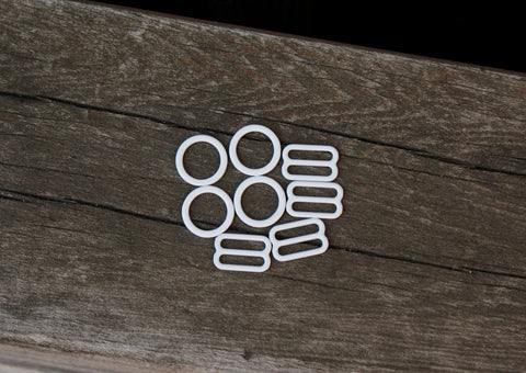 "2 Sets 1/2"" Metal Bramaking Rings & Sliders w/ White Matte Enamel Finish"