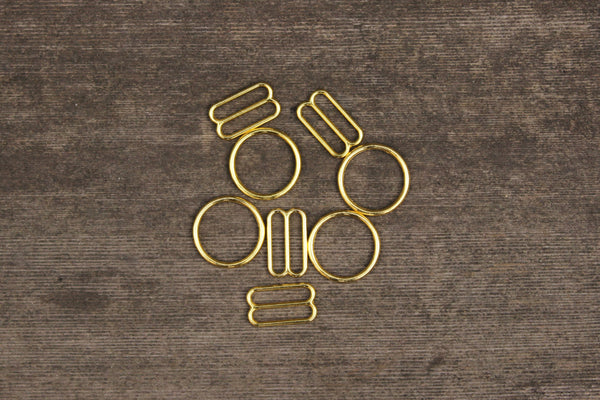 "2 Sets 5/8"" Gold Metal Bramaking Rings & Sliders"