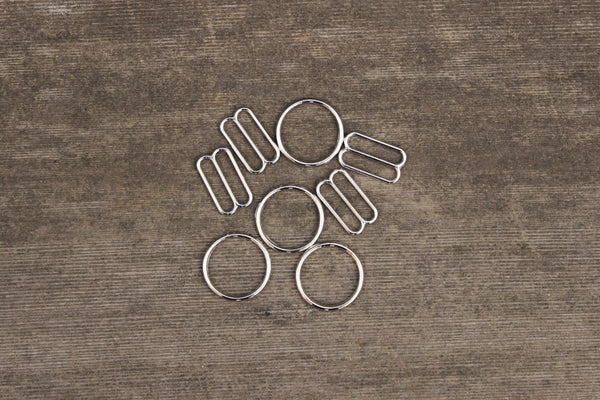 "2 Sets 5/8"" Silver Metal Bramaking Rings & Sliders"